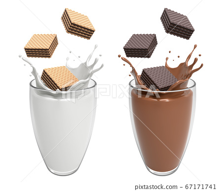 Vanilla and Dark Wafer chocolate square falling in glass match well with Milk and Chocolate splash high calcium and protein in the morning or at rest time on white background, 3D illustration. 67171741
