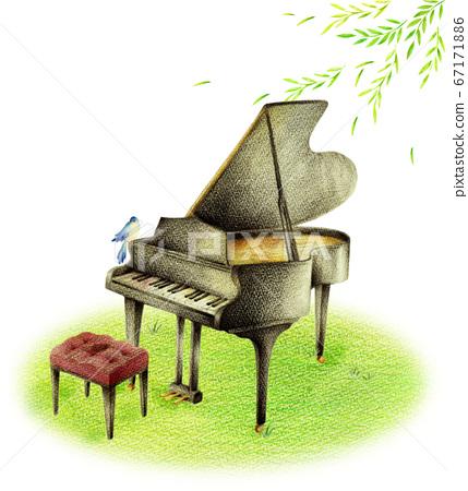 黑色鋼琴和藍色鳥在新鮮的綠色 67171886