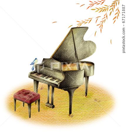 黑色的鋼琴和藍鳥在秋天的落葉 67171887
