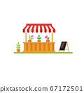 Modern minimalist flower market stall design with announcement board. Flat icon shop or market store front. For web design and application interface, also useful for infographics. 67172501