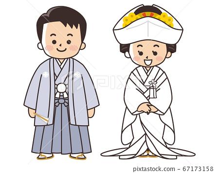新娘和新郎穿著日式禮服,ed白色純潔的婚禮 67173158