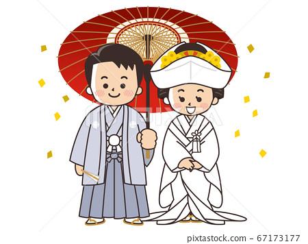 新娘和新郎穿著日式禮服,ed白色純潔的婚禮 67173177