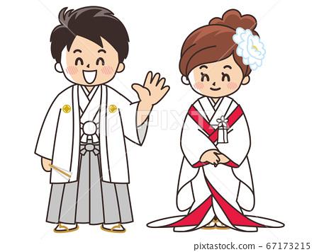 新娘和新郎穿著日式禮服,ed白色純潔的婚禮 67173215