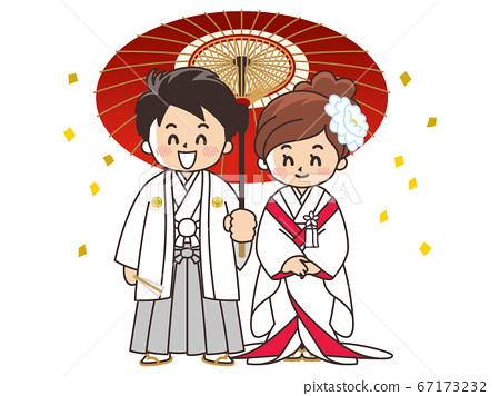 新娘和新郎穿著日式禮服,ed白色純潔的婚禮 67173232