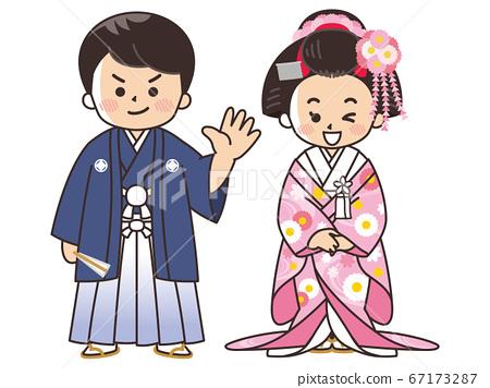 新娘和新郎在和服,冠ha,顏色罷工婚禮 67173287