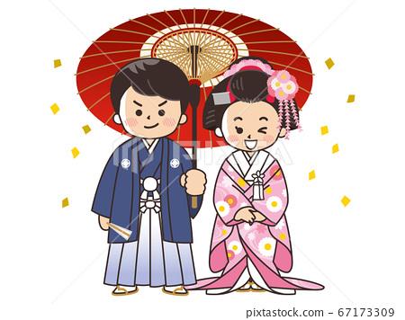 新娘和新郎在和服,冠ha,顏色罷工婚禮 67173309
