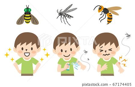 插圖集的昆蟲叮咬和預防措施 67174405