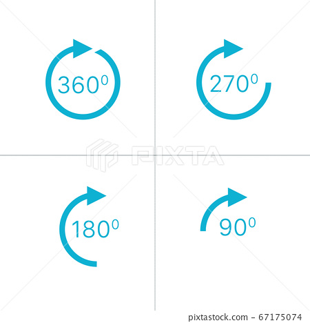 Rotation icon, 360, 270. 180. 90 degrees view or rotation sign icons. Stock vector illustration isolated on white background. 67175074