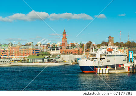 Cityscape of Helsingborg. A ferry that goes between Sweden and Denmark 67177893
