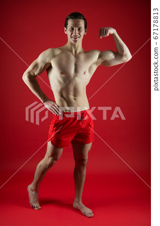 Attractive guy muscular chest. Proud of excellent 67178813