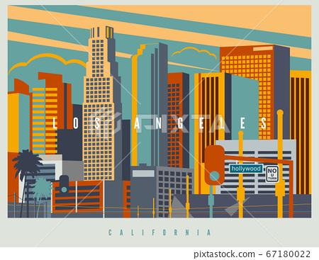 Downtown Los Angeles in vector. Cityscape of LA in retro style colors and stylization 67180022