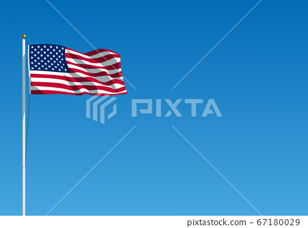 The USA flag waving on the wind. American flag hanging on the flagpole against the clear blue sky 67180029