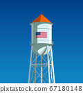 A water tower with the US flag drawn on it 67180148