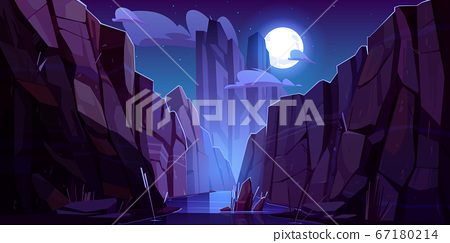 Mountain river in canyon at night 67180214