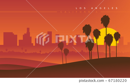 Los Angeles skyline during the sunset, viewed from the distance 67180220