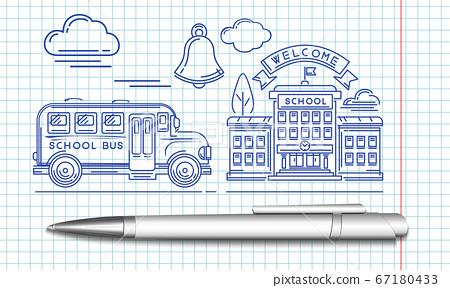 School bus pulls up to the school building 67180433