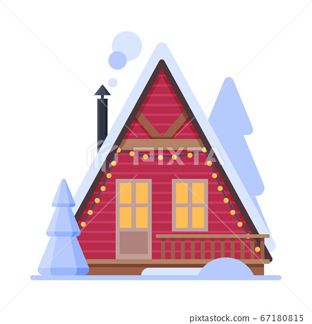 Snowy Suburban House, Rural Red Winter Cottage with Smoking Chimney Vector Illustration 67180815