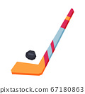 Hockey Stick and Puck, Winter Sport Equipment Vector Illustration 67180863