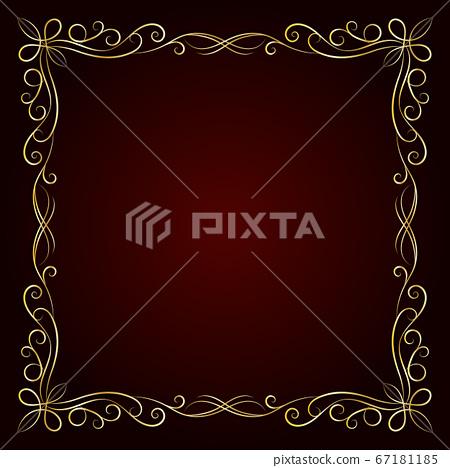 Vintage gold frame on dark background. Vector illustration 67181185