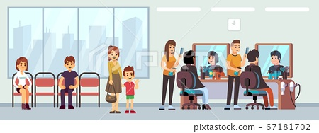Queue in barber shop. People waiting haircut, cartoon women men child in parlor. Hairdressing salon waiting line, happy male female hairdresser at work vector illustration 67181702