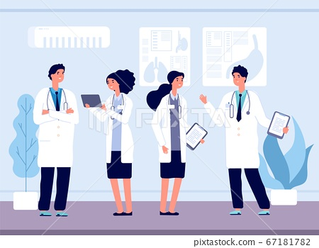 Doctors in hospital. Medical team working, nursing and healthcare. Clinic staff talking and smiling vector illustration 67181782