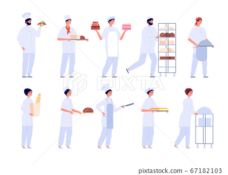 Bakers characters. Cartoon cute girl bake cake. Flat professional chef baking. Bakery, confectionery and bread, people cooking vector set 67182103