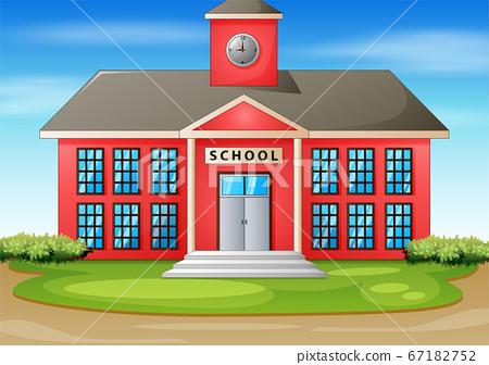 Cartoon illustration of school building 67182752