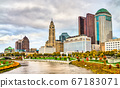 Cityscape of Columbus above the Scioto River - Ohio, United States 67183071