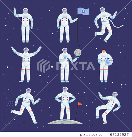 Astronauts characters. Spaceman people in action poses overall professional clothes suit vector cosmonaut 67183927