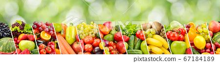 Fruits, vegetables, berries on green 67184189