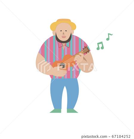 우쿨렐레를 연주 배타 남성 67184252