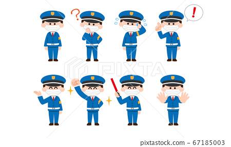 蒙面的衛兵和衛兵插圖集(變形的顏色) 67185003