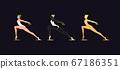 Golden ballerina woman in outline style. Ballet 67186351