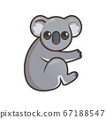 Cute gray koala, Australian animal. Flat vector illustration with outline, isolated on white background. 67188547