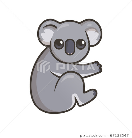 Cute gray koala, Australian animal. Flat vector illustration with outline, isolated on white background. 67188547