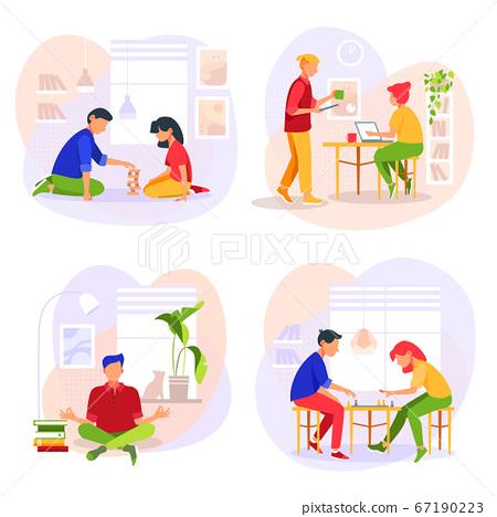 Stay at home concept illustration set. Vector Illustration 67190223