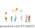 Miniature people : Happy family holding balloon on white background  67190925