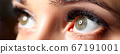 Amazing female green colored eyes with eyelashes extensions 67191001