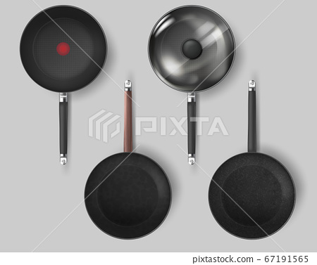 Realistic Classic fry pan with glass lid and handle. Vector 67191565