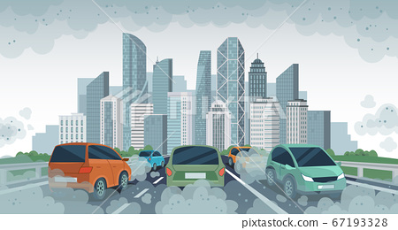 Cars air pollution. Polluted air environment at city, vehicle traffic and toxic pollution. Car with carbon dioxide clouds, vector concept 67193328