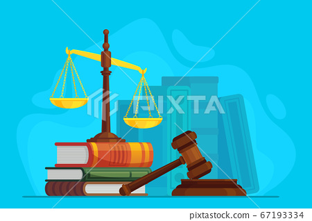 Law and justice. Scale justice and wooden judge gavel, auction symbol, legal law and judiciary, trials judgment, legislation vector concept 67193334