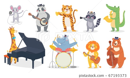 Cartoon animals with music instruments. Giraffe play piano, cute panda with banjo and alligator plays saxophone 67193373