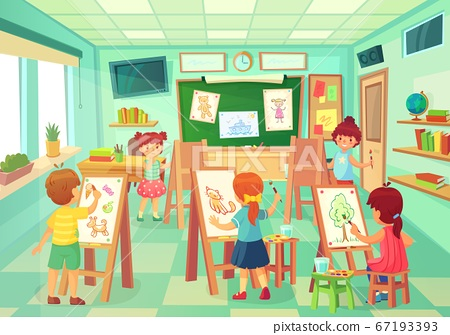 Kids drawing in art class. Vector art education 67193393