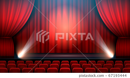 Theater show stage interior with red curtain, spotlight and theater chairs 67193444