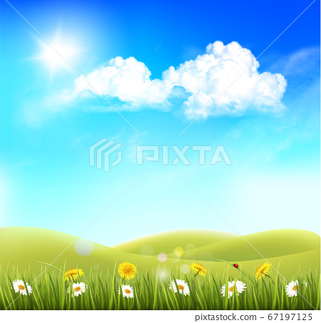 Summer nature background with landscape and blue 67197125
