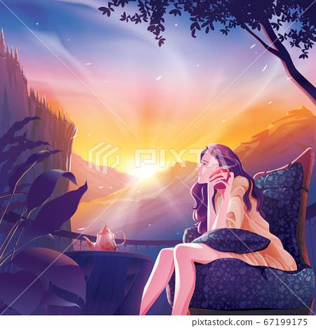 Beautiful lady drinking coffee on balcony 67199175