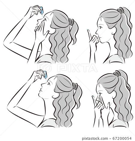 눈을 관리하고있는 여성의 일러스트 67200054