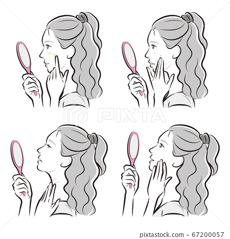 Illustration of a woman doing skin care 67200057