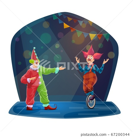 Circus clown characters, big top funny funsters 67200344
