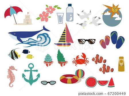 Summer sea material. Seasonal icons.